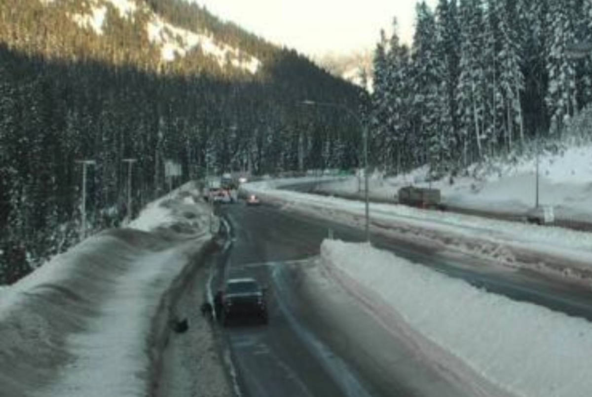Collision on Coquihalla Highway shortly after 4 p.m. on Feb. 20, 2020. (DriveBC footage)