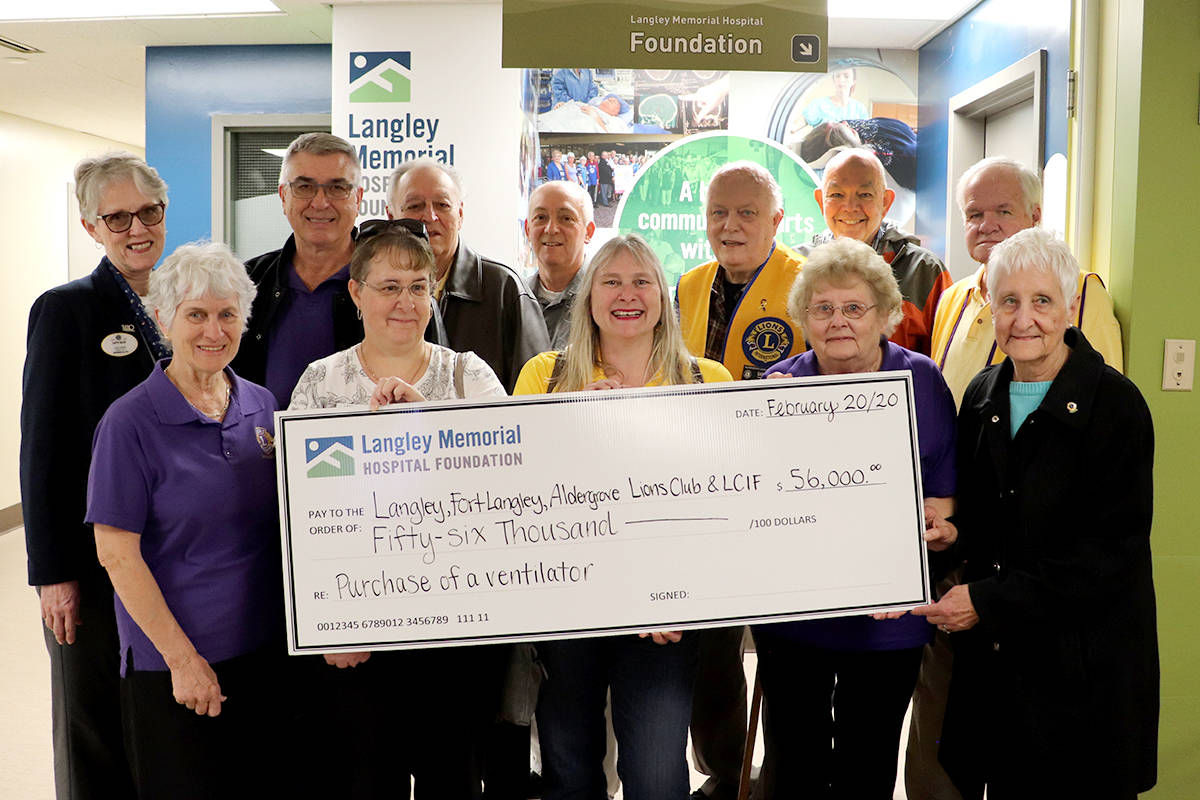 Lions Clubs donate generous gift to local hospital to help Langley breathe easy