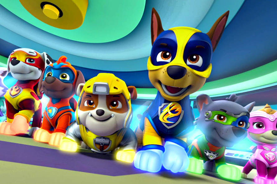 "A scene from the movie ""PAW Patrol: Mighty Pups."""