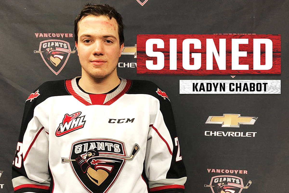 Alberta forward Kadyn Chabot makes his debut with the Vancouver Giants this weekend. (Jamison Derksen/Special to Black Press Media)