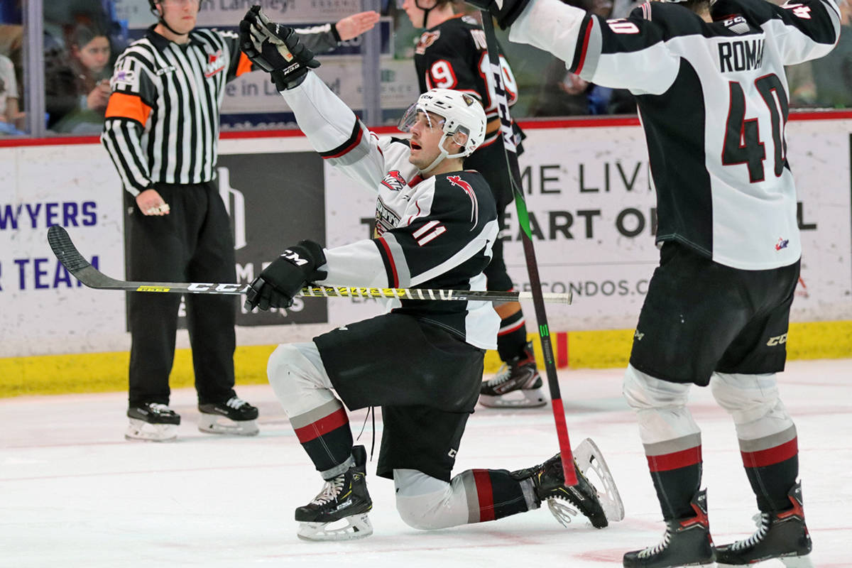 Tyler Preziuso celebrated a goal as the Giants came back to beat the Calgary Hitmen for their eleventh straight win Friday, Feb. 21 at Langley Events Centre (Rob Wilton/special to Langley Advance Times)