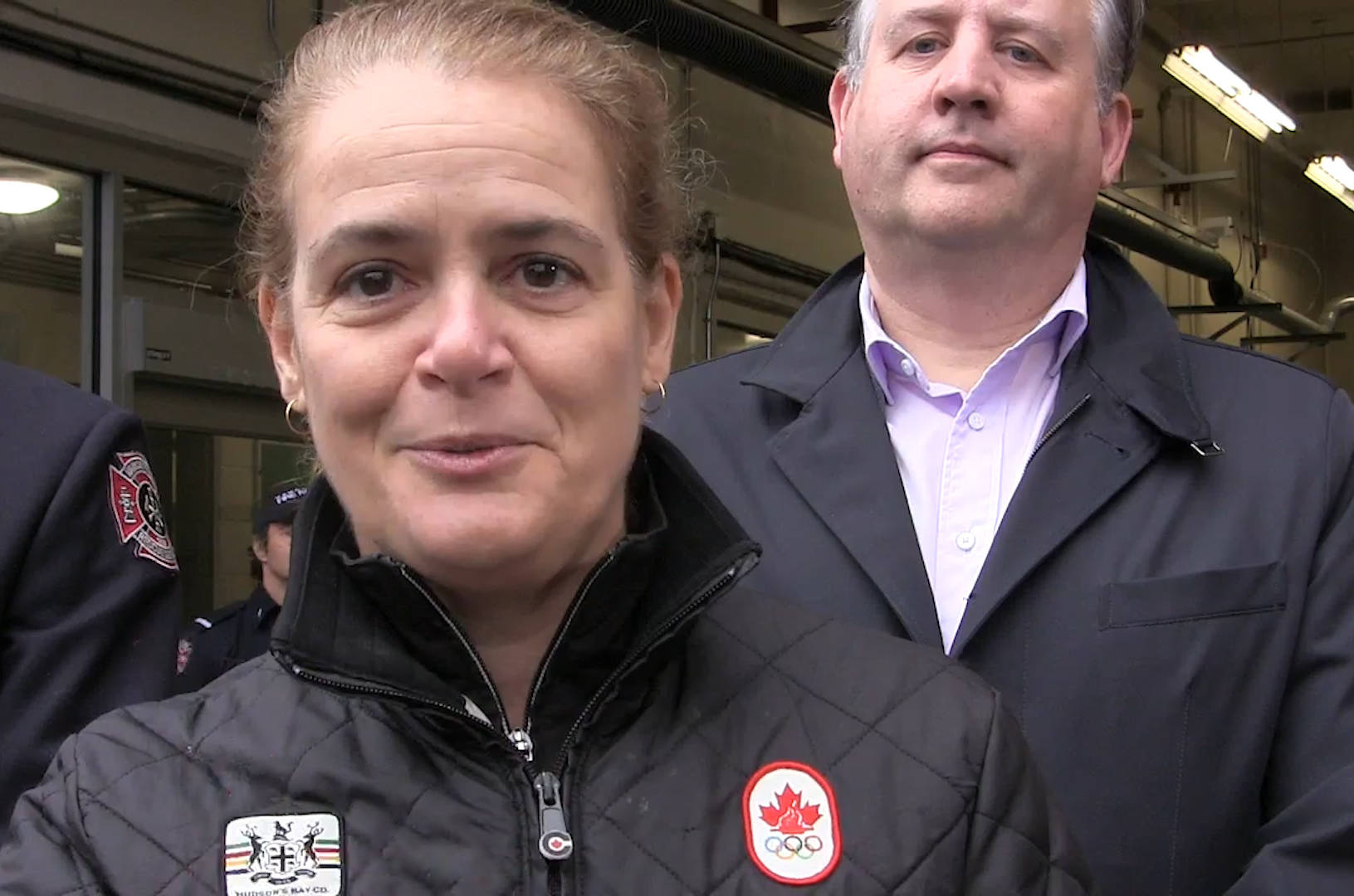 Canada's Governor General Julie Payette met at a fire hall in downtown Vancouver on Feb. 22, 2020, with firefighters and police officers as well as officials including Mayor Kennedy Stewart. (The Canadian Press photo)