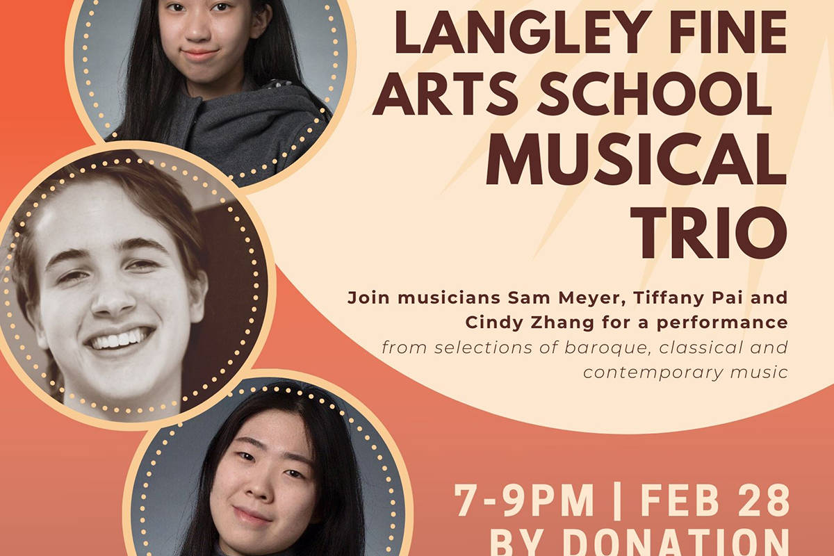 Sam Meyer, Tiffany Pai, and Cindy Zhang will perform at Fort Gallery, Friday, Feb. 28. (Fort Gallery/Special to the Langley Advance Times)
