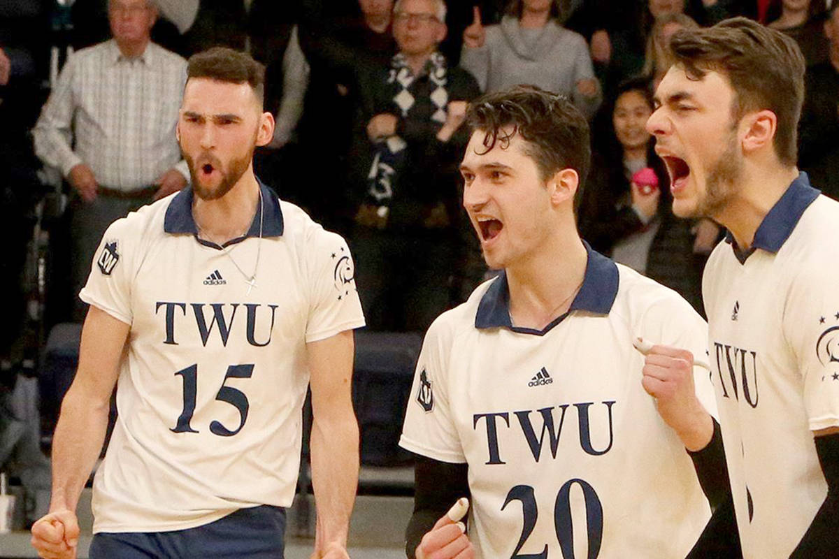 Spartans men's volleyball team put up 12 service aces en route to a straight sets victory (25-17, 25-19, 25-21) over Mount Royal in Game 2 of the Canada West quarter-finals Friday, Feb 21, at the Langley Events Centre. (TWU)