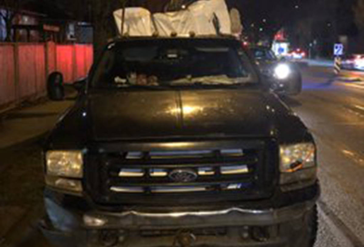 A driver has lost their truck and has been fined nearly $2,000 after being pulled over by Vancouver police on Feb. 24, 2020. (Sgt. Mark Christensen/Twitter)