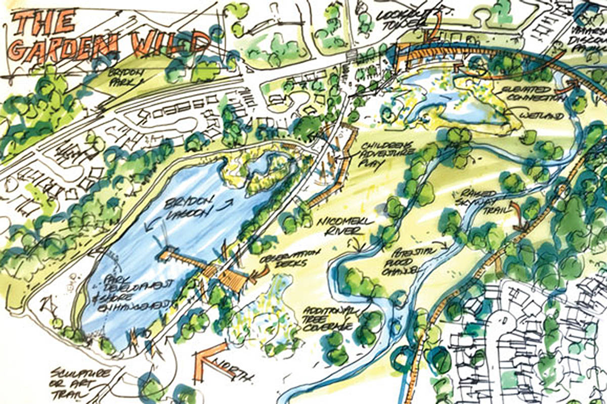 """A City of Langley image illustrated the """"Garden Wild"""" zone proposed for the Nicomekl River District."""