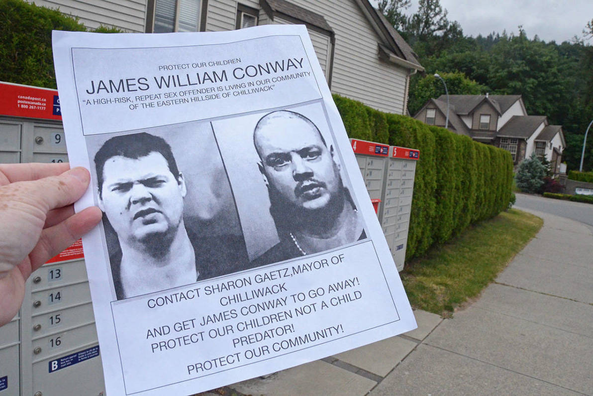 A resident was passing out flyers in the Eastern Hillsides of Chilliwack in 2018 after neighbours found out a pedophile and high-risk sex offender is living nearby. (Paul Henderson/ Progress file)