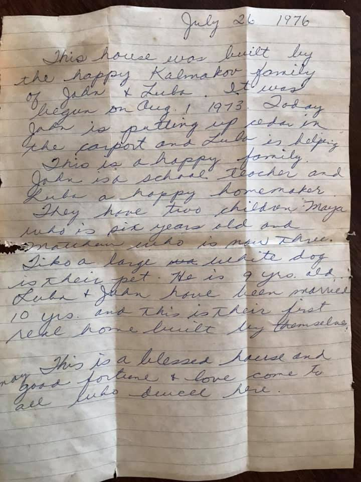 Luba Kalmakov's letter lets future owners of her house know how happy her family was moving in in 1976. Photo: Fanny Rodgers