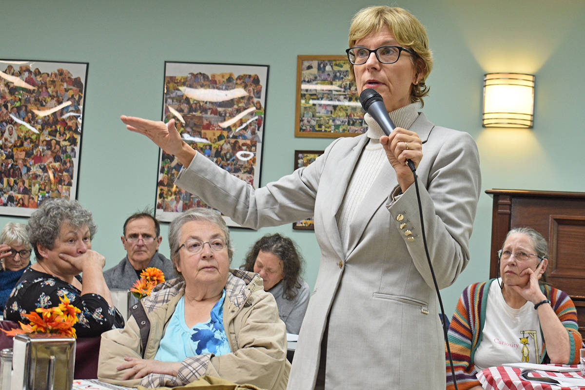 B.C. Seniors Advocate Isobel Mackenzie in Terrace at the Happy Gang Centre on Oct. 15, 2019. (Brittany Gervais/Terrace Standard)