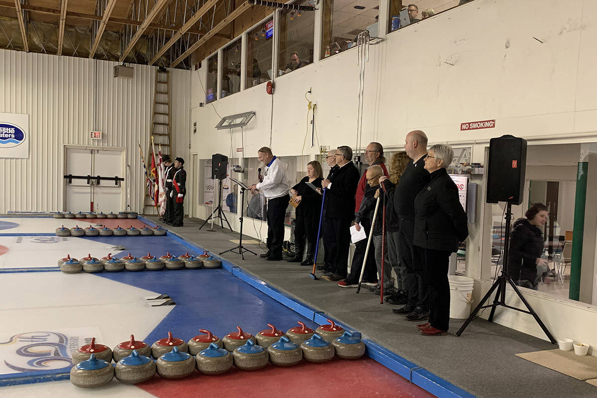 Tom DeSorcy emceed the opening ceremony for the BC Mixed Doubles Curling Championship on Wednesday (Feb. 26) at the Hope Curling Club. The championship will wrap up on March 1. (Jessica Peters/ Hope Standard)