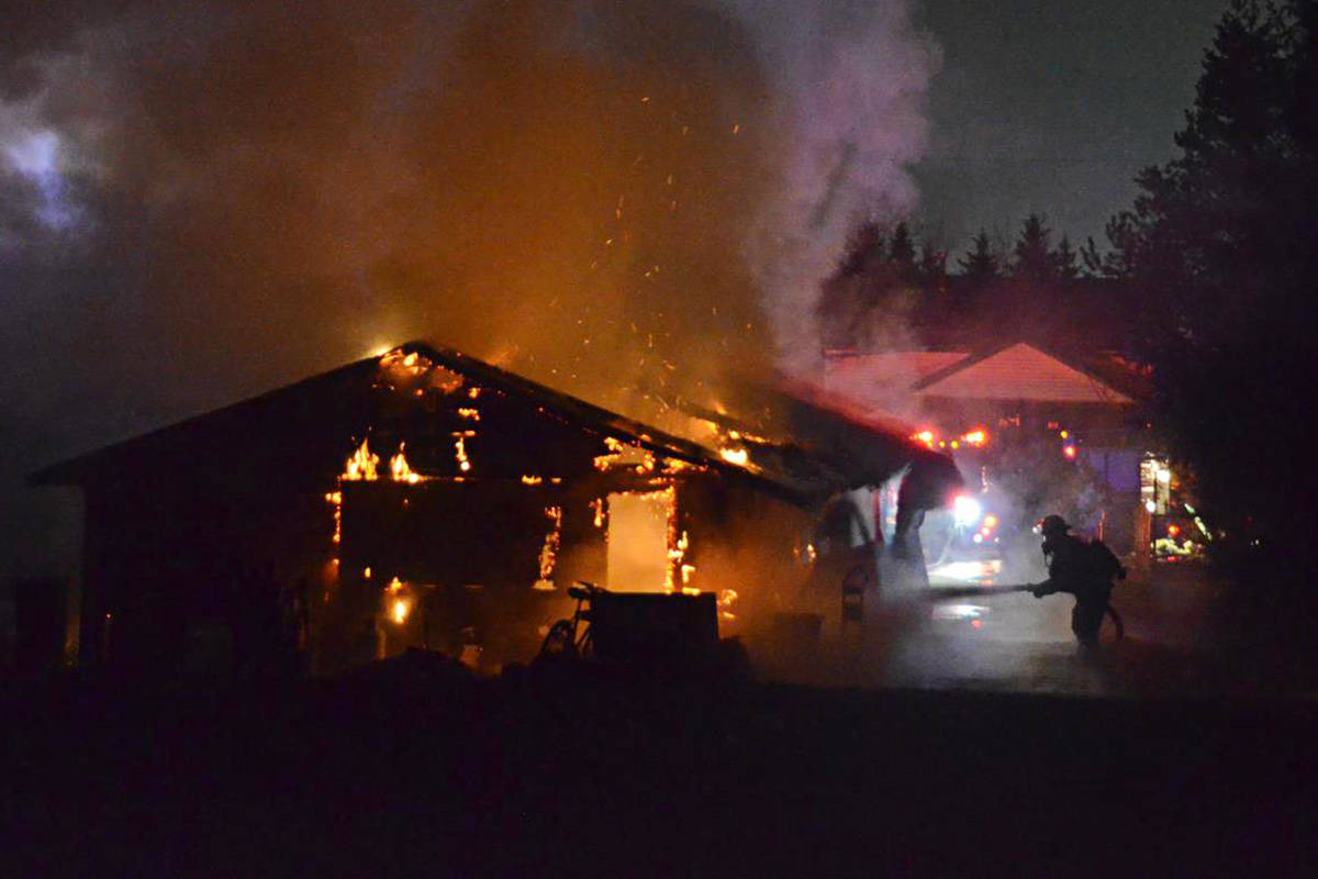 Langley Township firefighters responded to a blaze in Willoughby early Thursday morning. (Curtis Kreklau/South Fraser News Services)