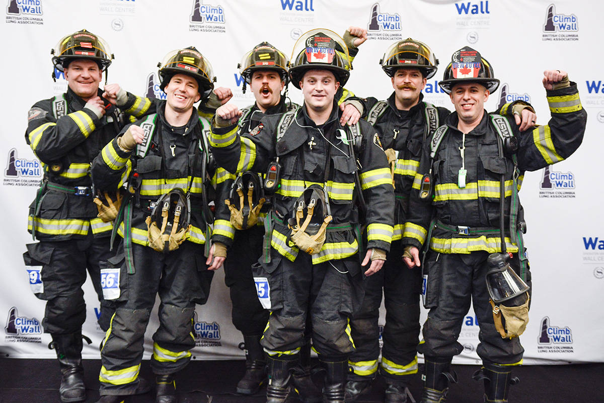View Royal Firefighters Jake Haymes (left), Jon Swick, Riley Leach, Matt Hamilton, Drew Coleman (Climb 2020 Team Captain), and Joey Drolet climbed the wall in Vancouver in support of the BC Lung Association. (File contributed/BC Lung Association)