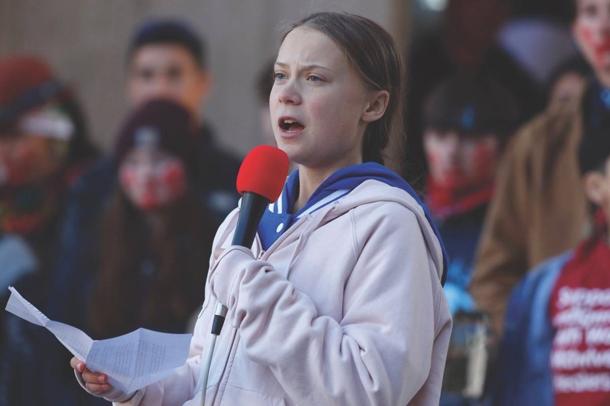 In this file photo, Swedish climate activist Greta Thunberg speaks to several thousand people at a climate strike rally Oct. 11, 2019, in Denver. (AP Photo/David Zalubowski)
