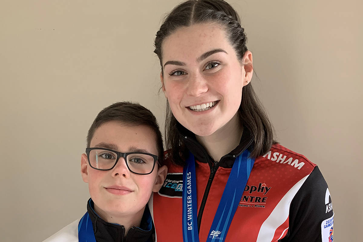 Langley's Sawyer and Savannah Miley took bronze in separate curling events at the B.C,. Winter Games. Savannah was also awarded a $500 bursary (Special to Langley Advance Times)