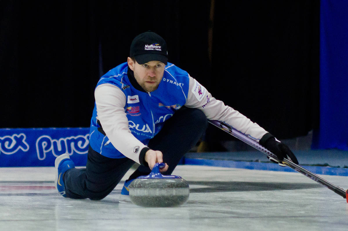 Vernon's Jim Cotter began the 2020 Tim Hortons Brier in Kingston, Ont. Saturday with a 6-4 win over the Northwest Territories. (Black Press file photo)