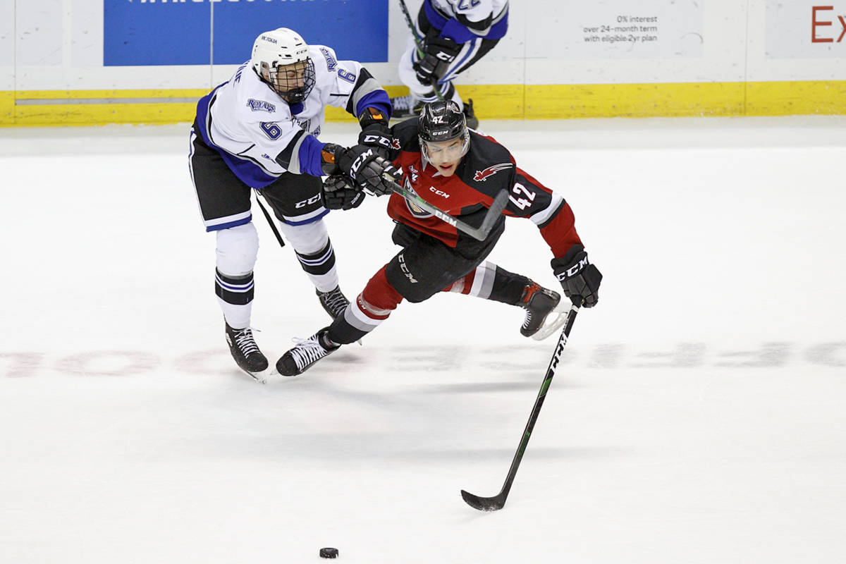Saturday night, Feb. 29, in Victoria, the Giants downed the Victoria Royals (30-23-5-2) 6-2. (Kevin Light/special to Langley Advance Times)