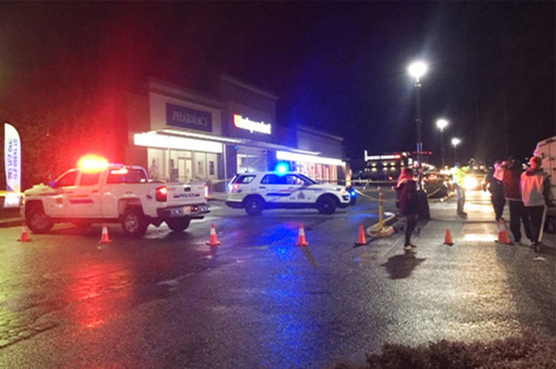 RCMP investigate the fatal pedestrian collision of a toddler, two, and the injury of a woman at a Squamish grocery store parking lot on Feb. 29, 2020. (RCMP handout)