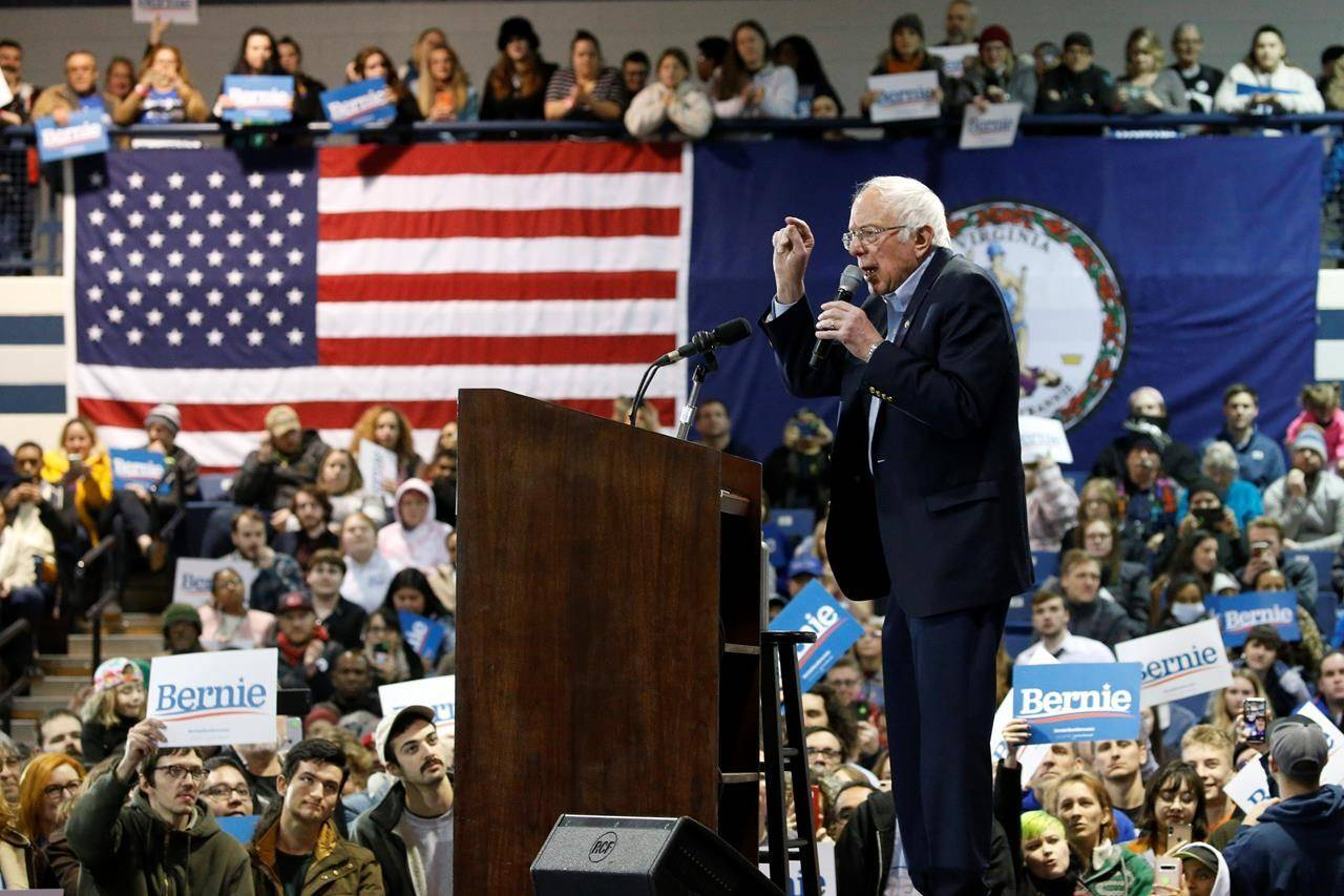 Democratic presidential candidate Sen. Bernie Sanders, I-Vt., gestures during a campaign rally Saturday, Feb. 29, 2020, in Virginia Beach, Va. (AP Photo/Steve Helber)