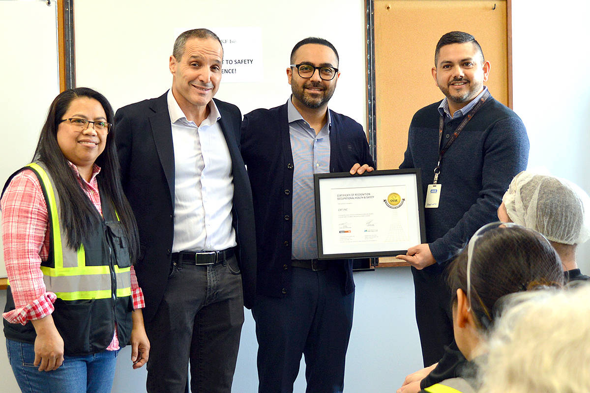 CKF, one of the largest employers in the community, was recently presented with an Occupational Safety Standard of Excellence award from the Manufacturing Safety Alliance of B.C. CKF joins a select few B.C. manufactures to achieve the designation. (Special to Langley Advance Times)