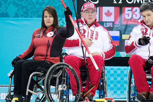Spallumcheen's Ina Forrest and Canada improved to 3-1 at the World Wheelchair Curling Championships in Switzerland Monday morning with a 6-4 win over the host country. (Matthew Murnaghan/Canadian Paralympic Committee)