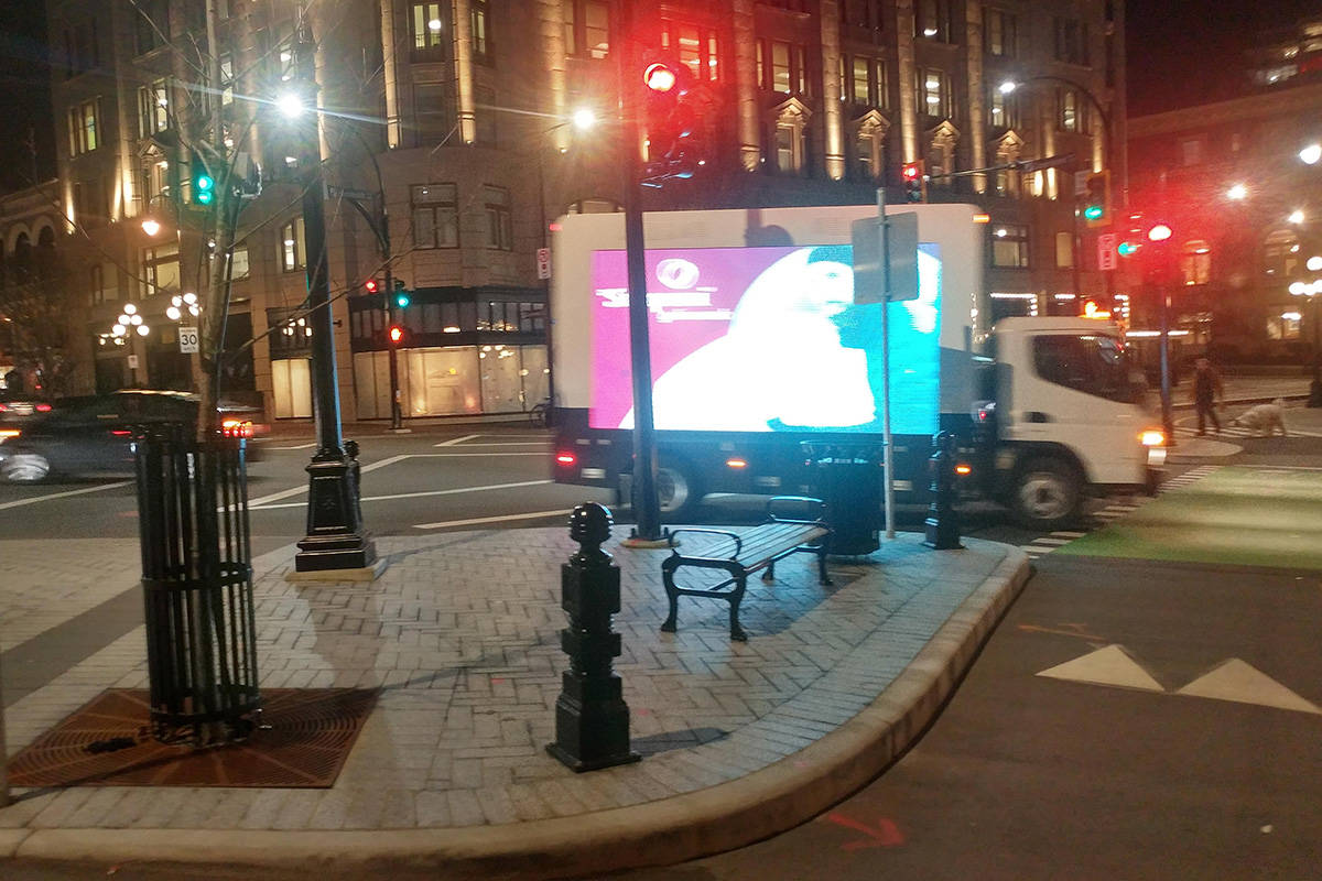 An illuminated truck has been seen driving around downtown Victoria. (File contributed/ Reddit, ScotchityScotch)