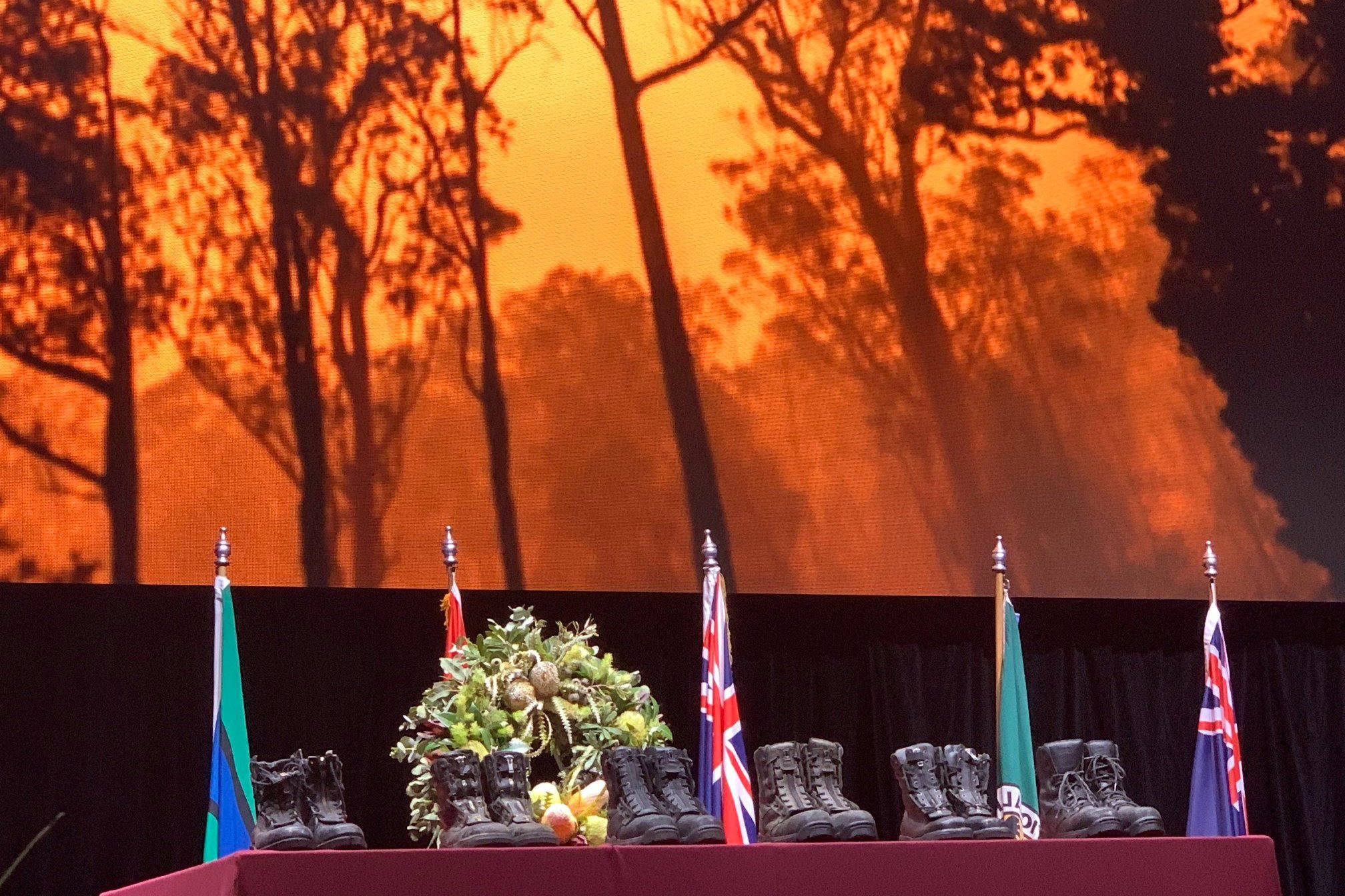 Flight boots of aviators killed in Australian firefighting efforts were part of a memorial service last week in New South Wales. (Coulson Aviation/Facebook)
