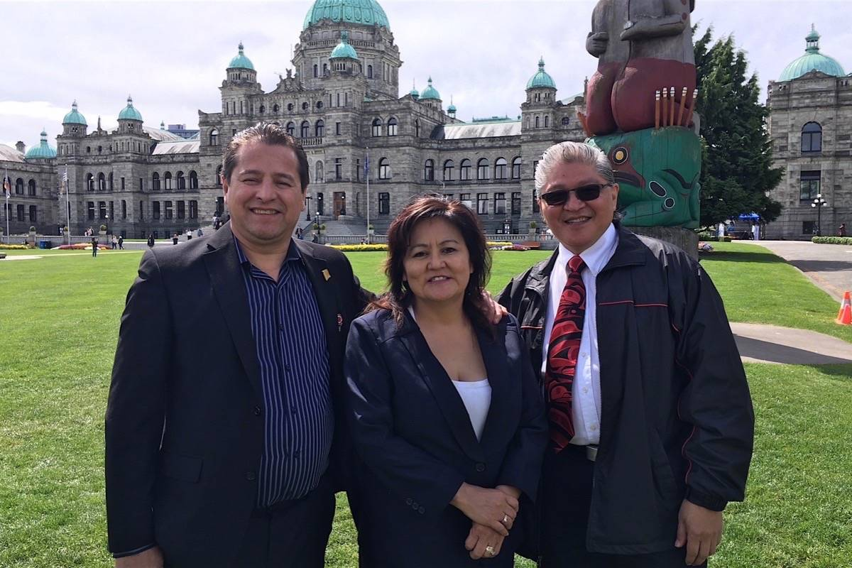 First Nations LNG Alliance members Chief Dan George of the Ts'il Kaz Koh, Karen Ogen of the Wet'suwet'en and Chief Clifford White of the Gitxaala Nation after meeting NDP MLAs in Victoria, May 10, 2018. (Tom Fletcher/Black Press)