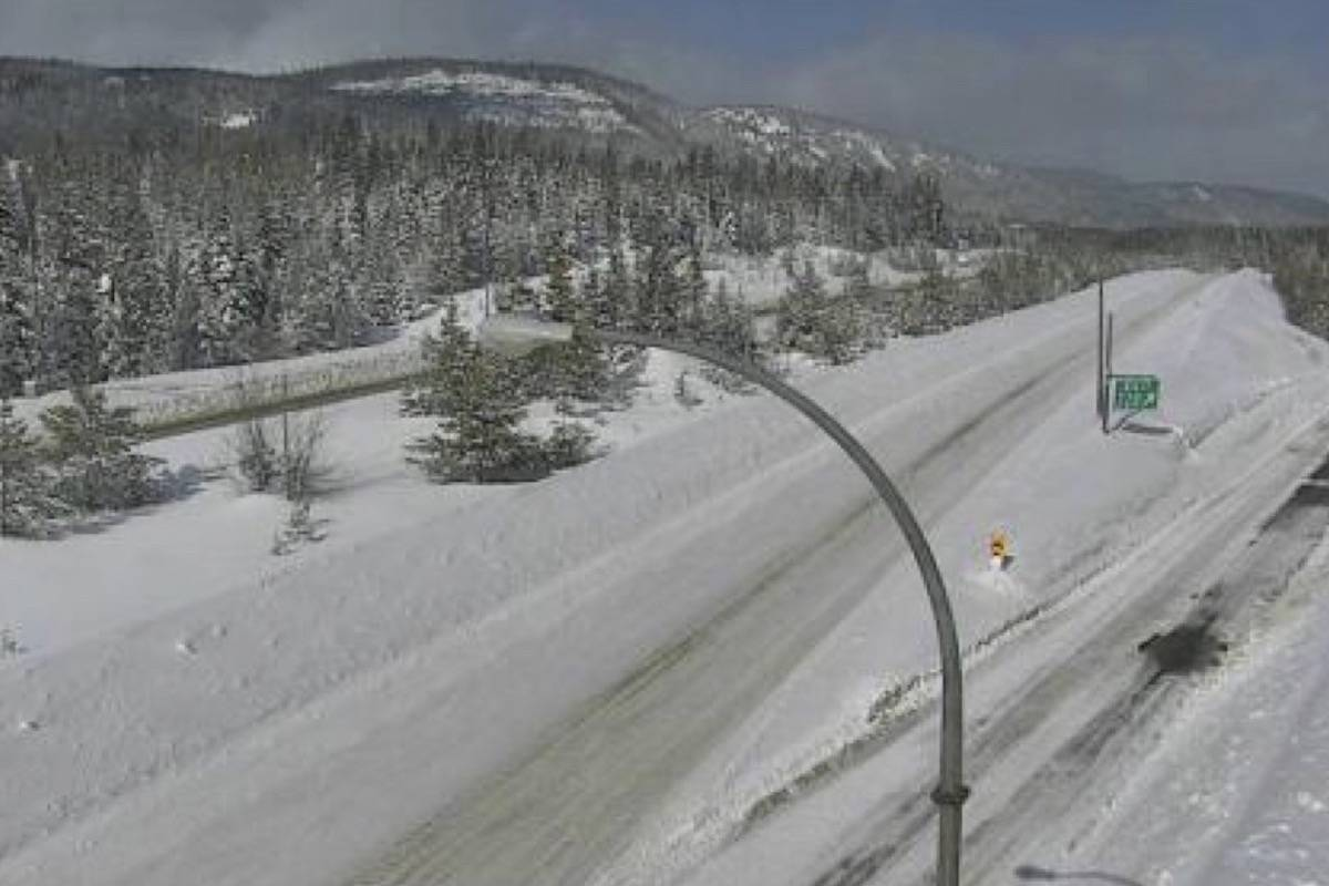 Compact snow is being reported along parts of the Coquihalla Highway (Photo courtesy of Drive BC)