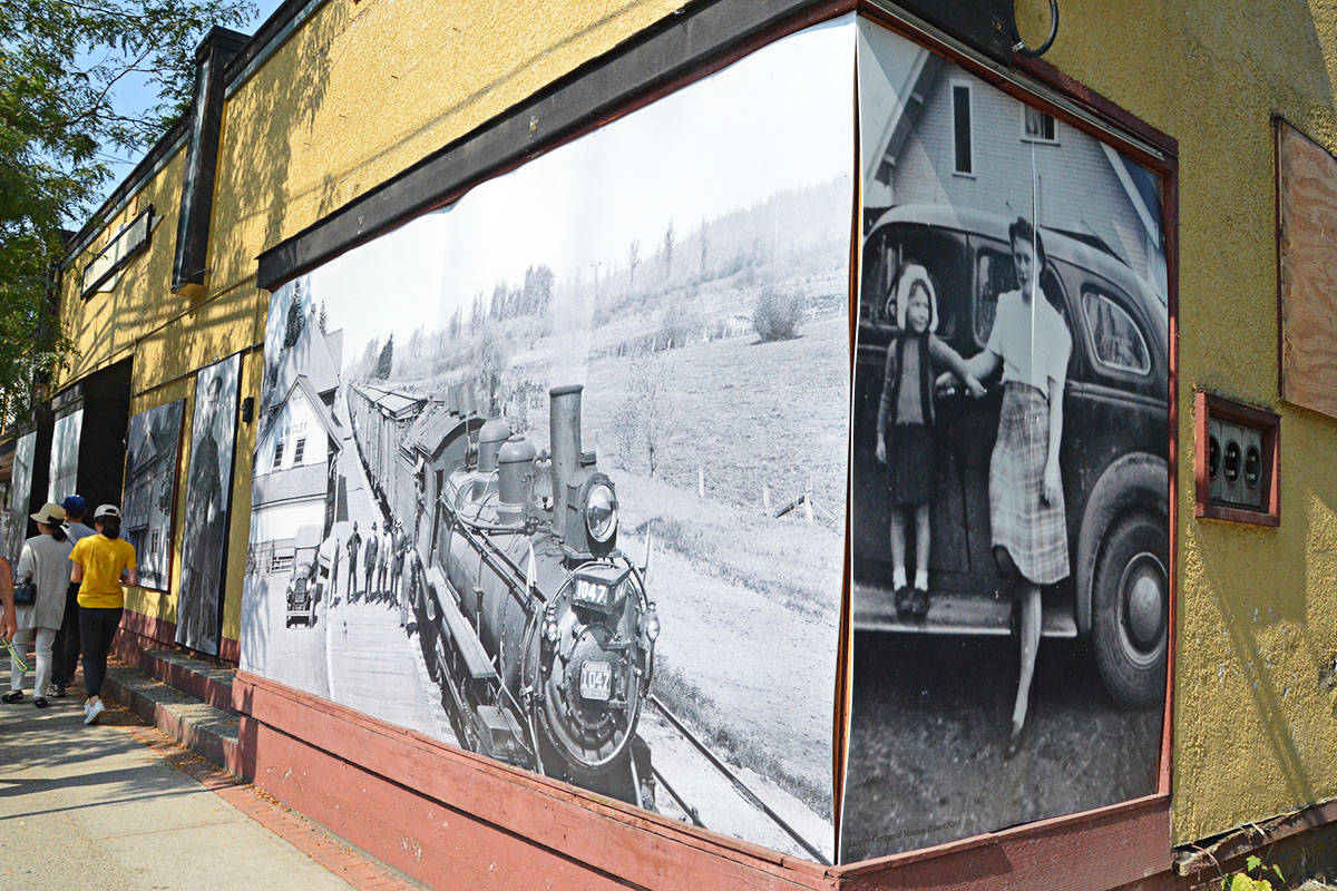 Eric Woodward's boarded-up Fort buildings are currently covered with historic photos. (Langley Advance files)