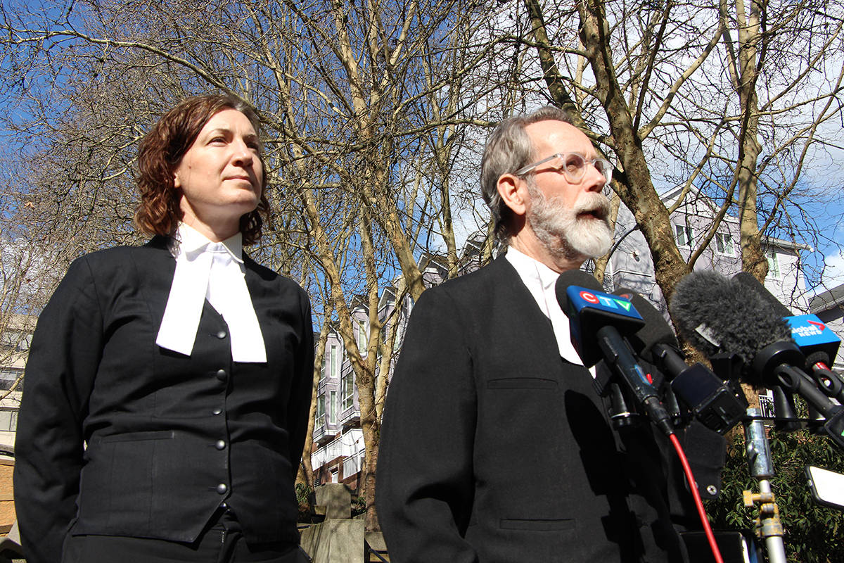 Gabriel Klein's lawyer, Martin Peters, with co-counsel Megan Vis-Dunbar, addresses the media after the judge's ruling on Friday, March 6 at B.C. Supreme Court in New Westminster. (Vikki Hopes/Abbotsford News)