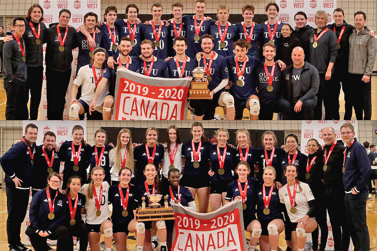 Trinity Western University men's and women's volleyball teams won their respective Canada West championship on Saturday, March 7th, at the Langley Events Centre (TWU)