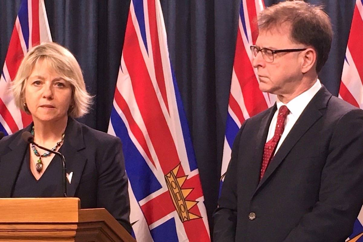 Provincial Health Officer Dr. Bonnie Henry and B.C. Health Minister Adrian Dix provide update on COVID-19 at the B.C. legislature. (Tom Fletcher/Black Press)