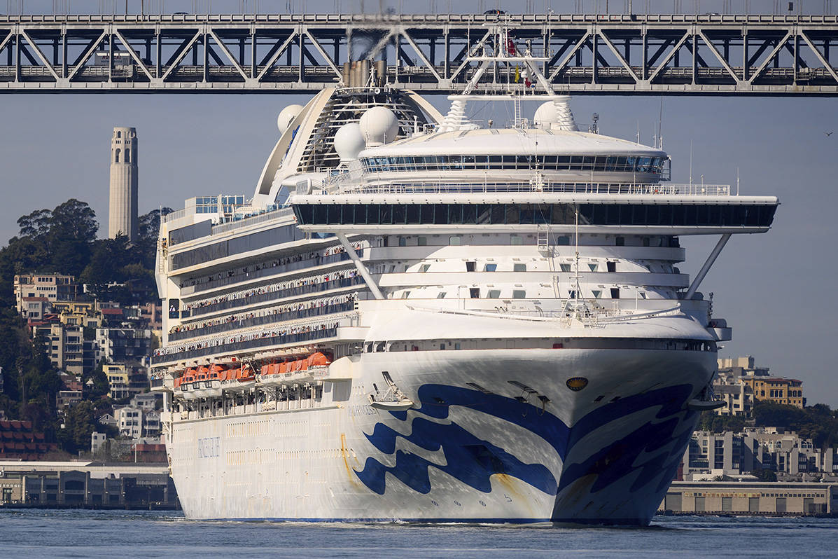 The Grand Princess arrives in San Francisco on Monday, March 9, 2020. The cruise ship, which had maintained a holding pattern off the coast for days, is carrying multiple people who tested positive for COVID-19. (AP Photo/Noah Berger)
