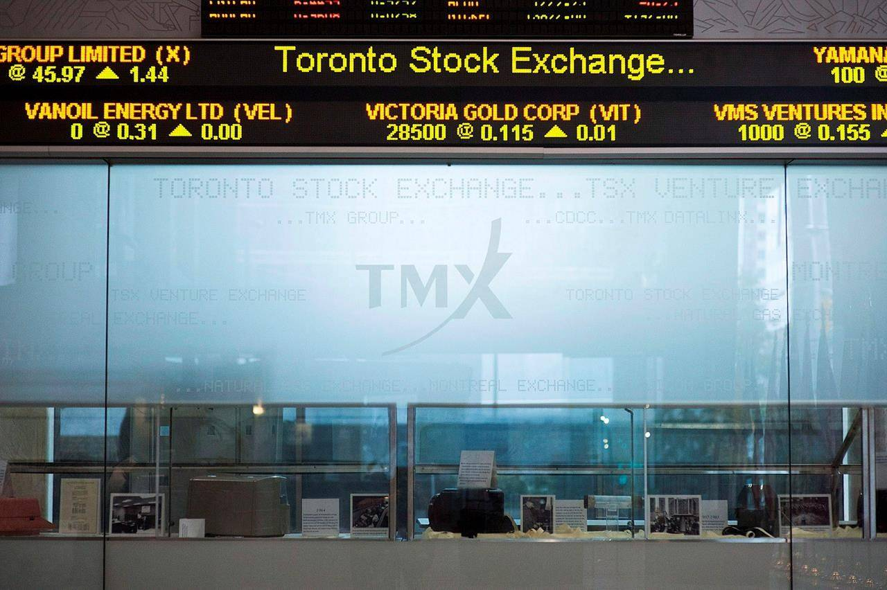 FILE – The Toronto Stock Exchange Broadcast Centre is shown in Toronto on June 28, 2013. THE CANADIAN PRESS/Aaron Vincent Elkaim