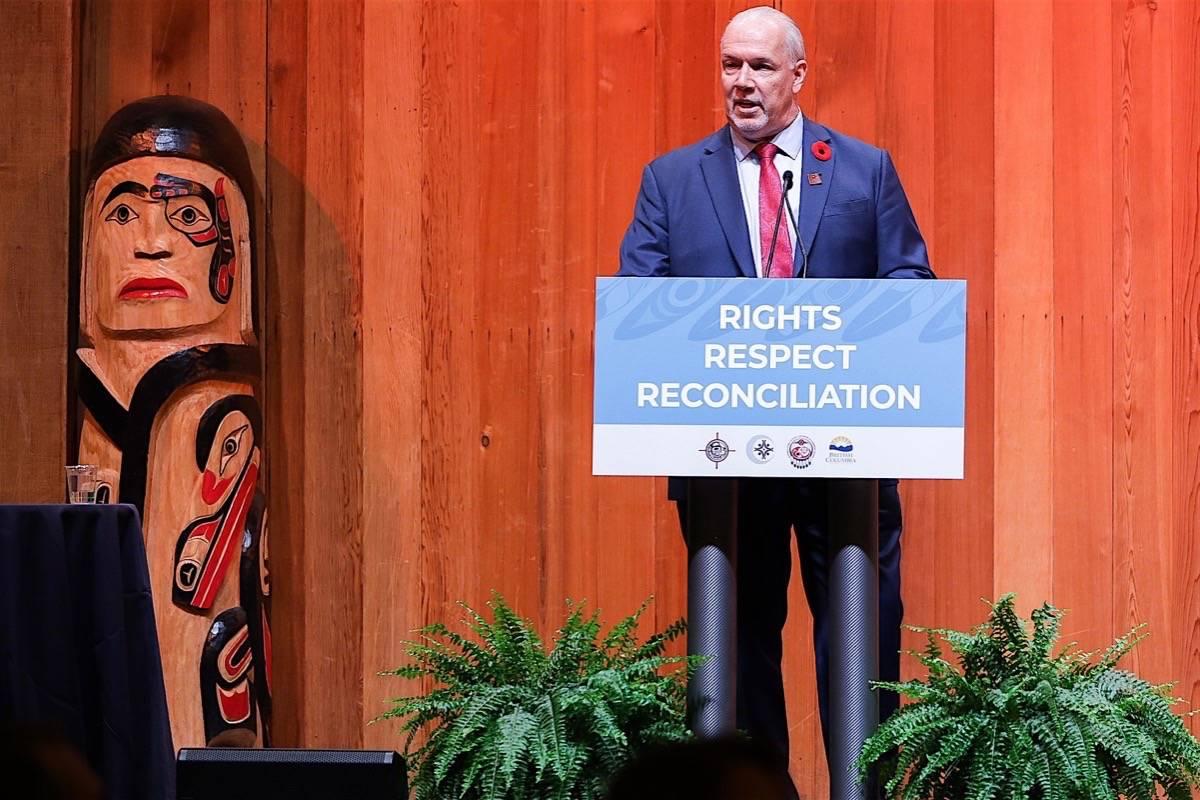 B.C. Premier John Horgan speaks to Indigenous leadership conference in Vancouver, Nov. 5, 2019. (B.C. government)