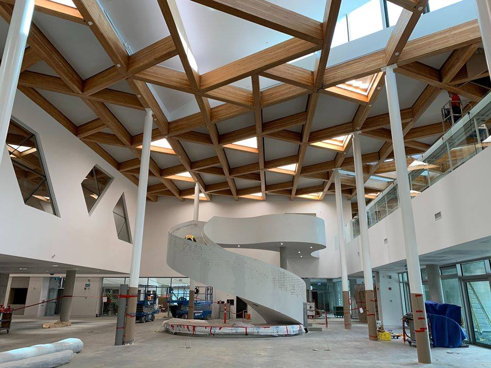 Construction on the main foyer at the soon-to-be opened Clayton Community Centre nears completion. (Photo courtesy of HCMA Architecture + Design)