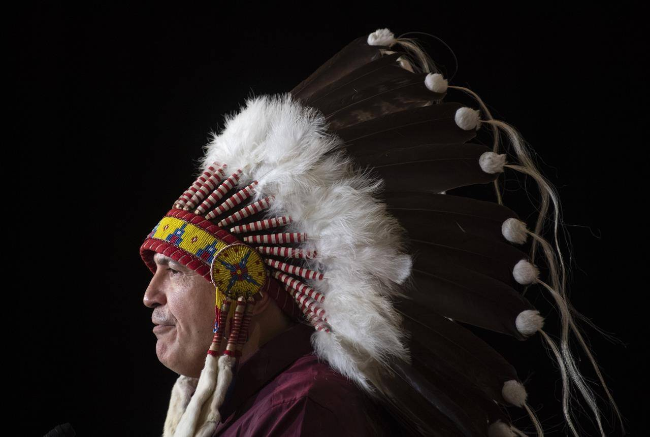 National Chief Perry Bellegarde is seen during a speech at the Assembly of First Nations Special Chiefs Assembly in Ottawa, Tuesday December 3, 2019. Leaders of Canada's national Indigenous organizations say they hope talks with Prime Minister Justin Trudeau and Canada's premiers will lead to greater movement on implementing the UN Declaration on the Rights of Indigenous Peoples and new child welfare policies as well as resources to deal with the COVID-19 pandemic. THE CANADIAN PRESS/Adrian Wyld