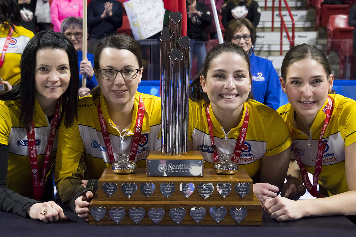 Team Canada for the World Women's Curling Championship in Prince George: Kerri Einarson, third, Val Sweeting, second, Shannon Birchard and lead, Briane Meilleur pose with the trophy after defeating Team Ontario to win the Scotties Tournament of Hearts in Moose Jaw, Sask., Sunday, Feb. 23, 2020. THE CANADIAN PRESS/Jonathan Hayward