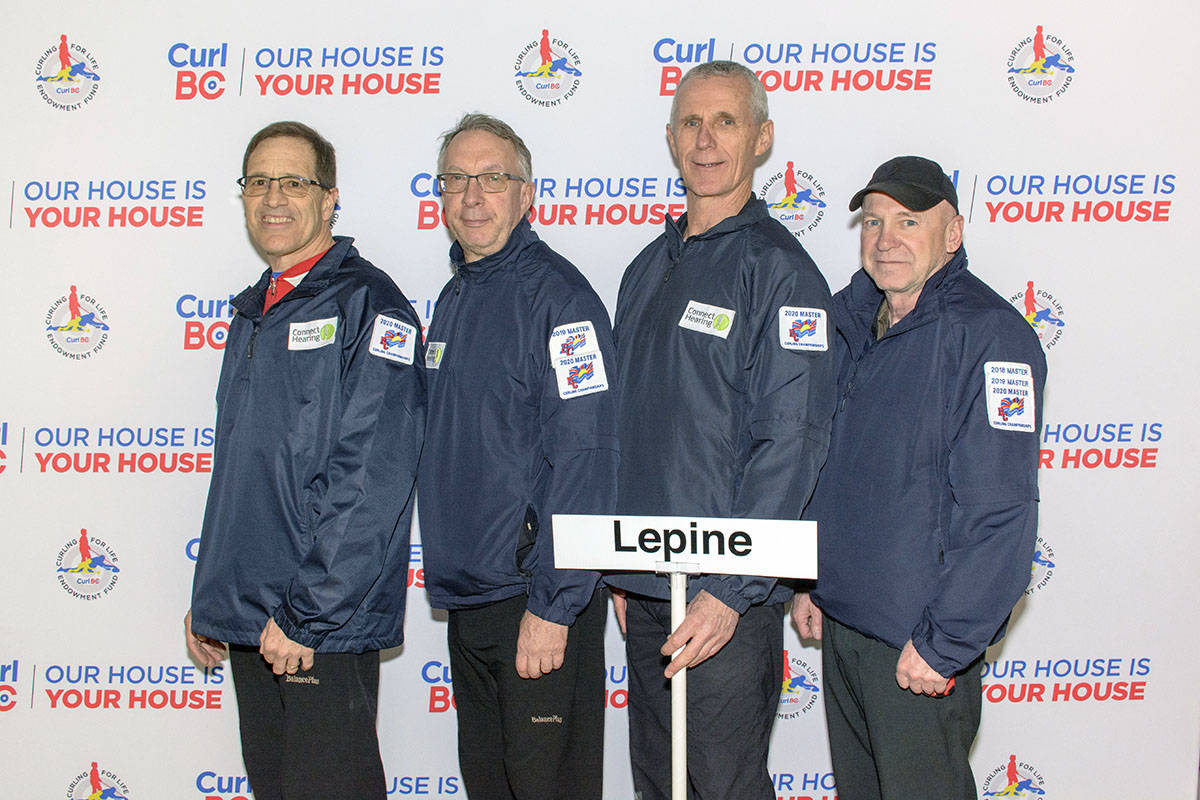 Langley's Craig Lepine led his team to gold at the BC Masters Curling Championships in Lake Cowichan on Sunday, March 8, with a team that featured former Brier winner and Olympian Neil Houston at third. (special to Langley Advance Times)