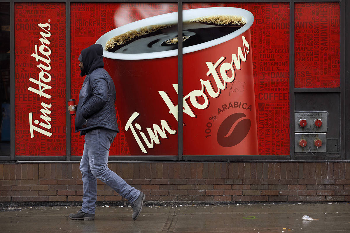 Signage for Tim Hortons is seen outside a Tim Hortons restaurant in Toronto, Friday, March 6, 2020. THE CANADIAN PRESS/Cole Burston
