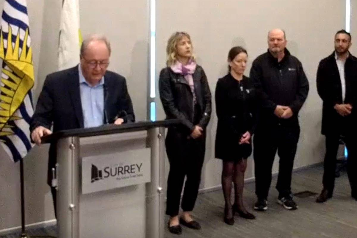 Screen shot of Surrey mayors March 16 presser on COVID-19 at city hall, with Councillor Mandeep Nagra (far right). (From City of Surrey video)