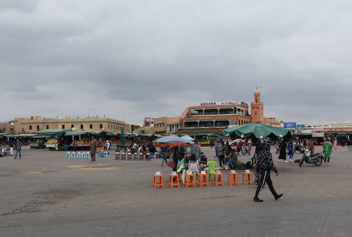 A popular shopping square in Marrakesh, Morocco is empty as of Monday due to COVID-19 fears. Kathleen McCann says it would normally be packed with tourists. (Courtesy of Kathleen McCann)