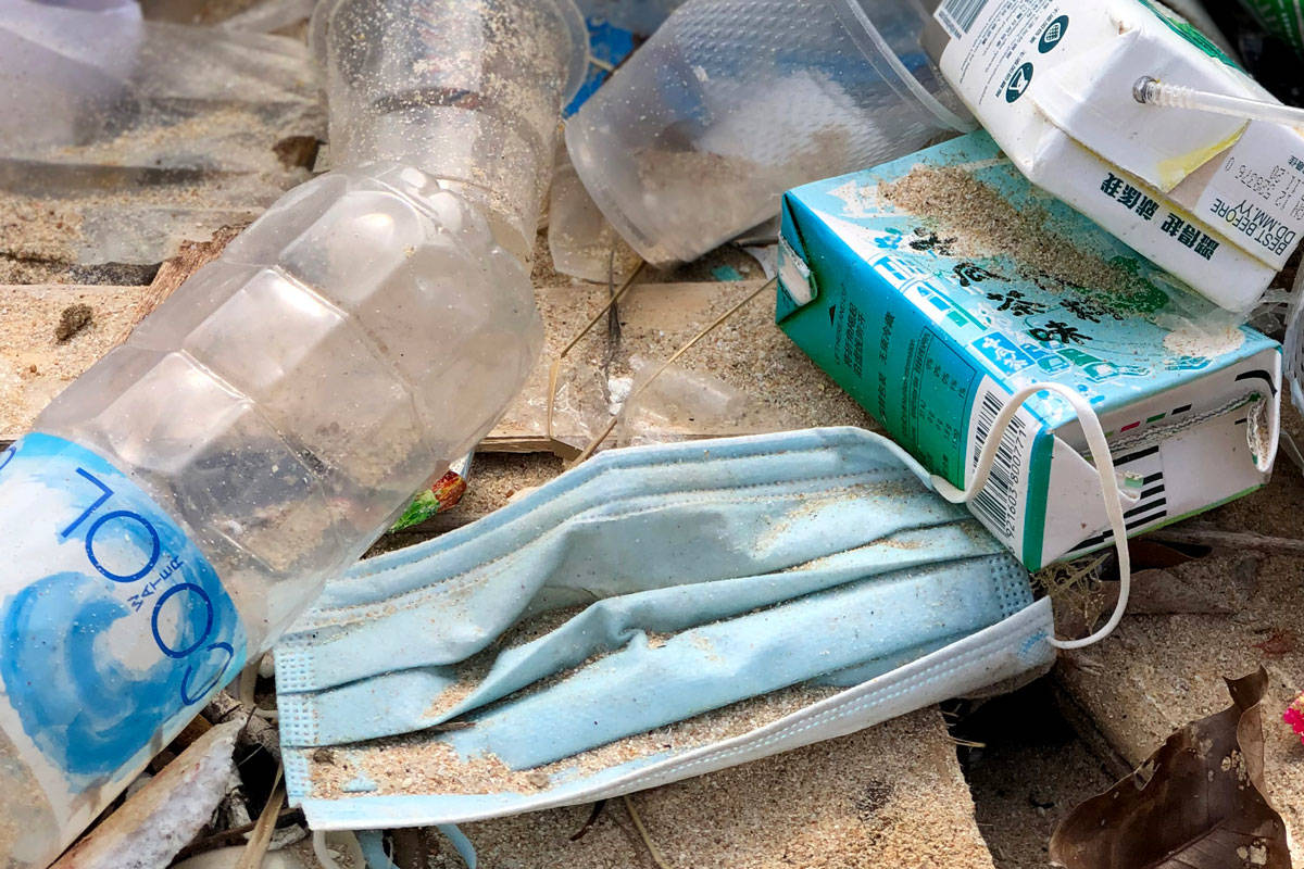 OceansAsia researchers have noticed a spike in the number of surgical masks washing up on beaches in the Soko Islands since the COVID-19 pandemic began. (Naomi Brannan/OceansAsia)