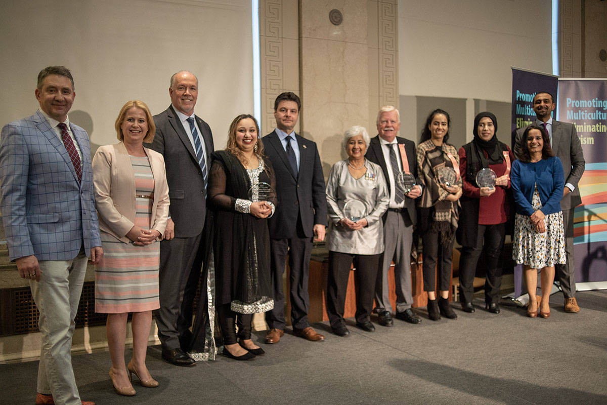 Politicians and award recipients at the Multiculturalism and Anti-Racism Awards in 2019. (Province of B.C.)