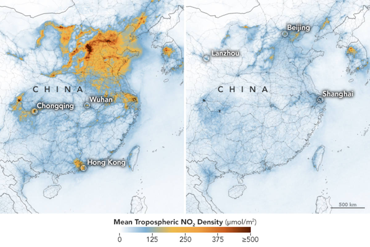 This image shows the difference in nitrogen dioxide in Wuhan from Jan. 1 to Feb. 25. (NASA)