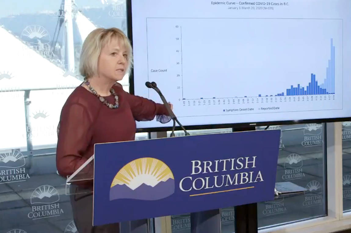 B.C. provincial health officer Dr. Bonnie Henry speaks about COVID-19 at a press conference Saturday, March 21, in Vancouver. (B.C. Government video still)