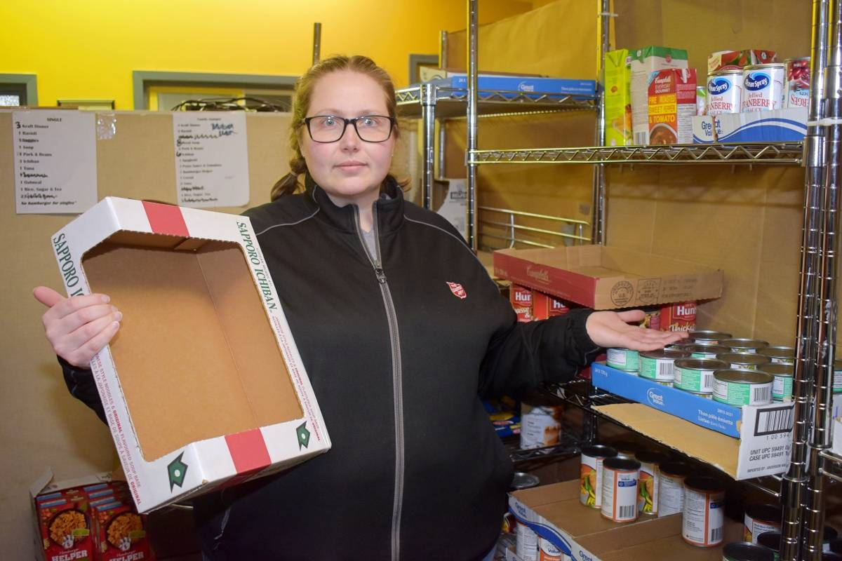 Salvation Army Food Bank in Prince Rupert has shelves that are almost bare. Due to the COVID-19 pandemic food supplies are short in most food banks throughout Canada. (Photo: K-J Millar/The Northern View)