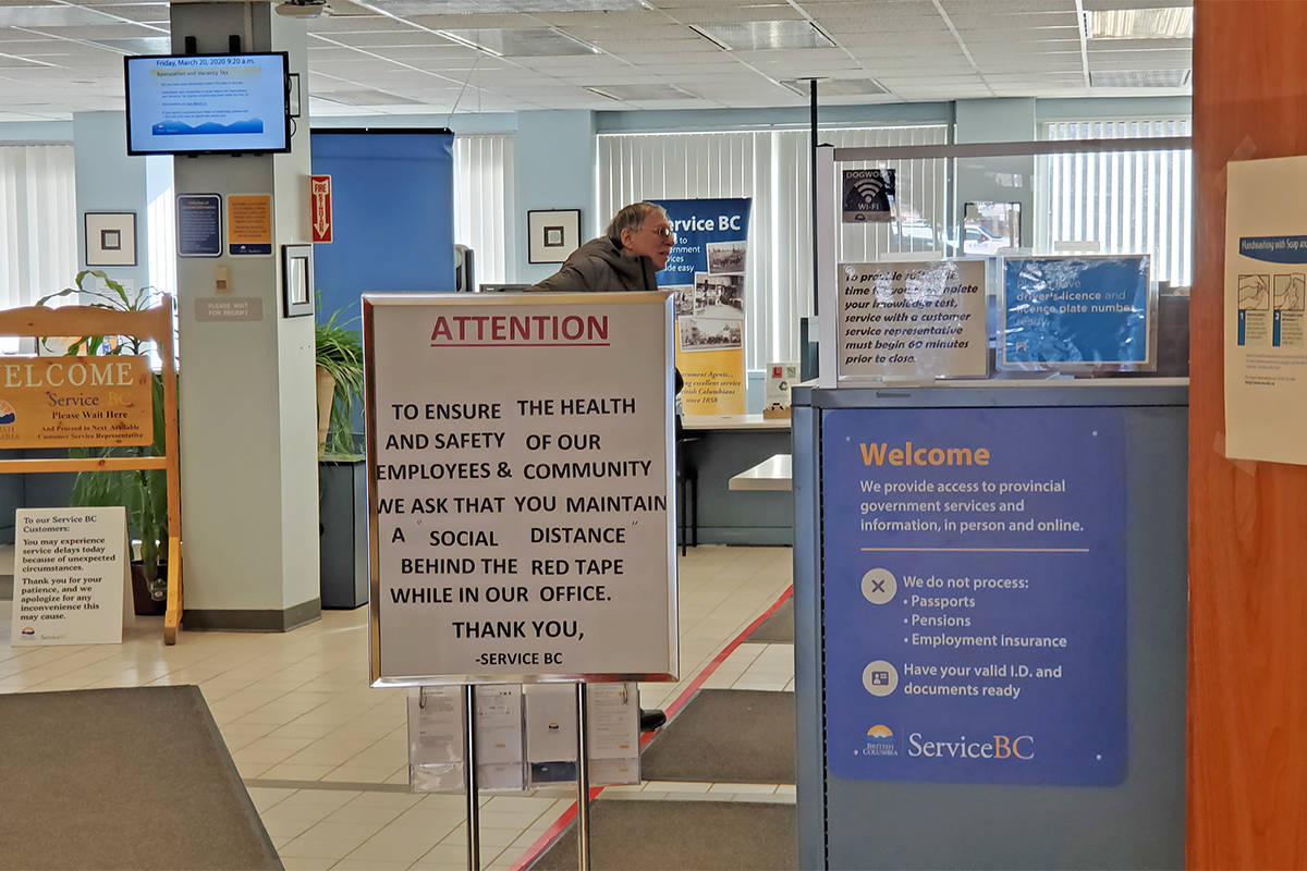 Service BC offices remain open across the province with measures in place to ensure social distancing. Residents are encouraged to use online services. (Monica Lamb-Yorski photo - Williams Lake Tribune)