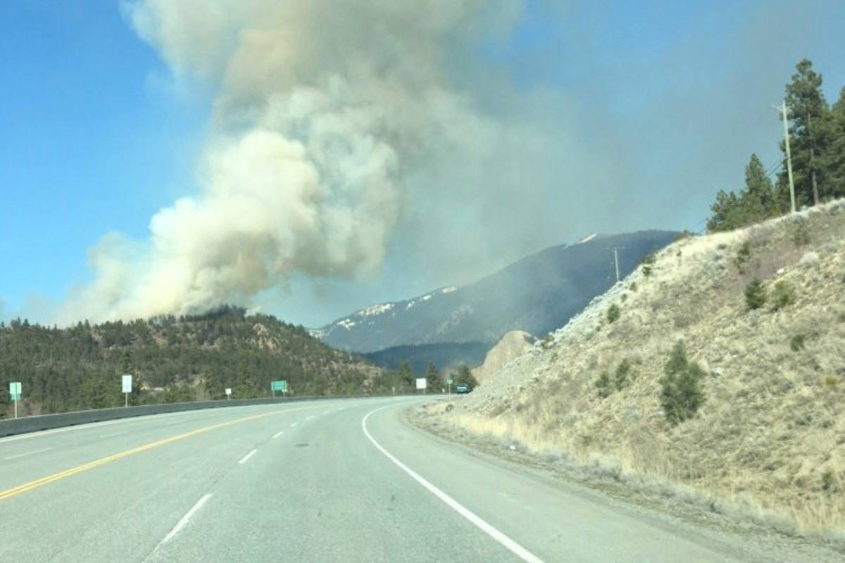 A wildfire burning out of control north of Lytton over the weekend of March 22. (Photo credit: BC Wildfire Service)