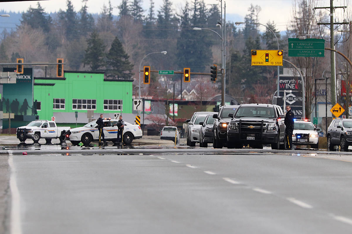 A police incident at the 196th Street overpass above the Langley Bypass saw one man taken to hospital with what police described as minor injures. (Shane MacKichan/Special to Langley Advance Times)
